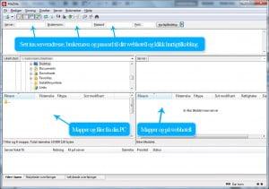 Klikk på bildet for å se en guide på hvordan du kobler deg til ditt webhotell ved bruk av FileZilla