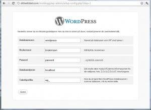 Slik ser en av de første installasjonsskjemene ut. Har du kommet hit er du et par minutter fra å legge inn WordPress.