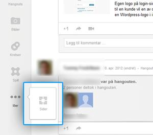 Sider i Google+ sin meny